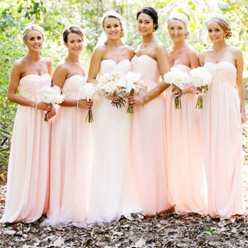 Light Pink Wedding Gown: Light Pink Bridesmaid Dresses Sweet Chiffon Pleat Off The