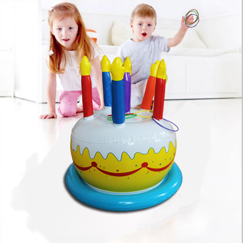 Inflatable Birthday Cake Ring Toss Party Game Toys Kids