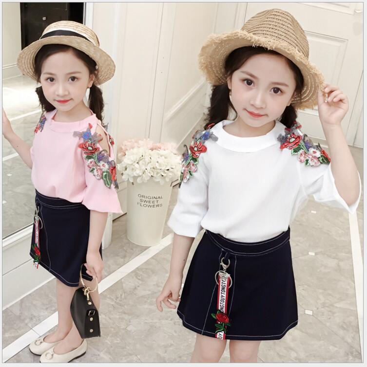 elder girls vintage embroidery blouse and jeans skirt set teenager girls shoulder leak fashion kids outfit clothing set