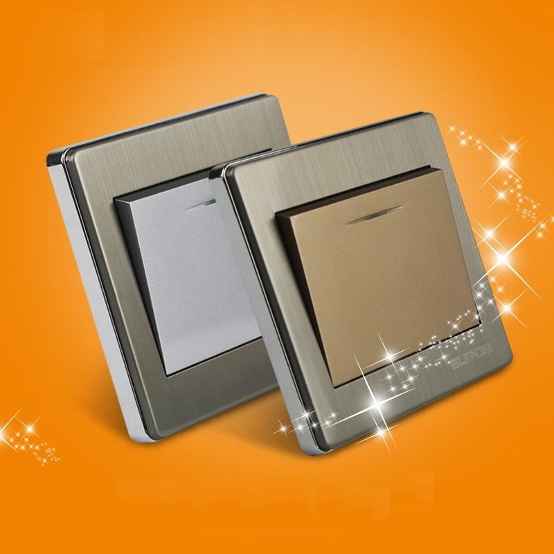 E9 Series Brushed Stainless Steel Gold Wall Switch With fluorescence 1 Gang 1 Way Single Control Switch Socket Panel fluorescence creative fairy star luminous switch wall stick