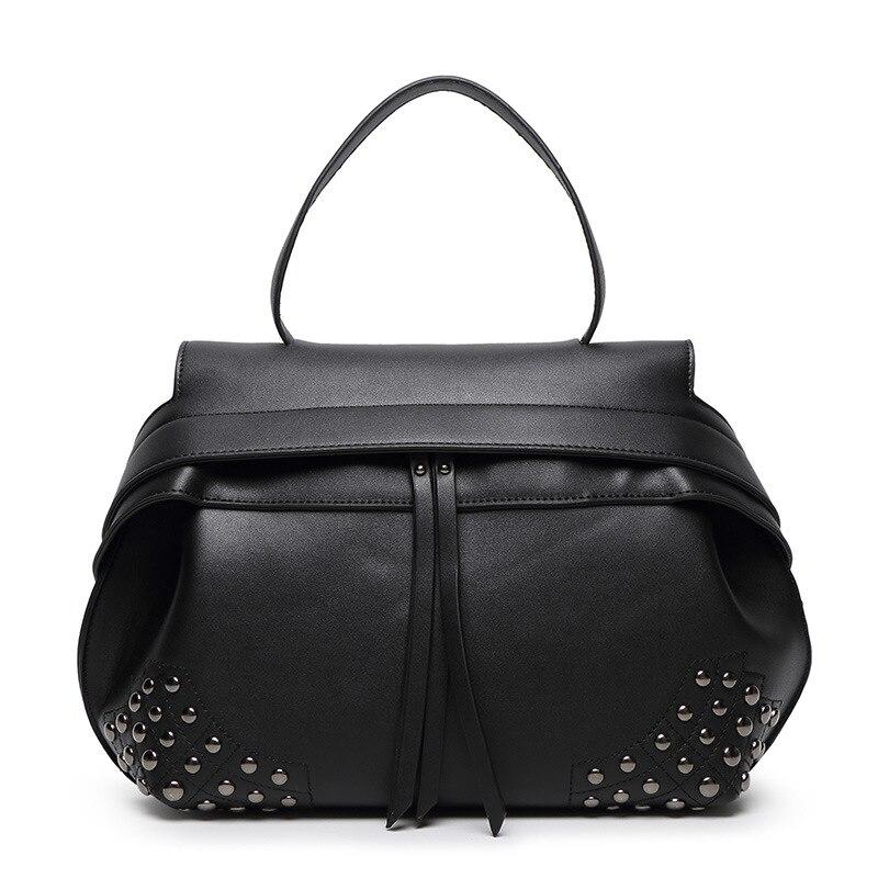 ФОТО New Rivet Women Leather Handbags Vintage Woman Bags Bag Handbag Fashion Handbags Women Shoulder Bags Leather Pu Tote Bag