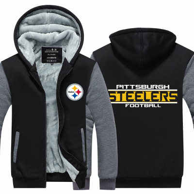 huge discount 7bb5b cb81a American football cosplay rugby football Hooded Thick Zipper Men  Sweatshirts Jackets Coats Free Winter steelers frlcons cowboys
