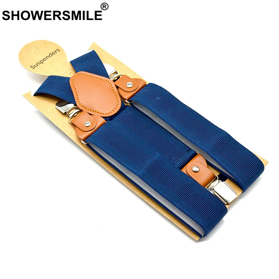 SHOWERSMILE Navy Suspender Mens Trouser Belt Women Unisex Elastic Adjustable Braces Adult Wide Strap 120cm Male Suspender Pants