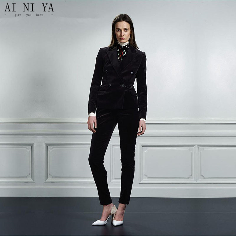 Black Velvet Professional Business Work Suits With 2 Piece Jackets+Pants For Ladies Office Blazers Outfits Female Trousers Sets