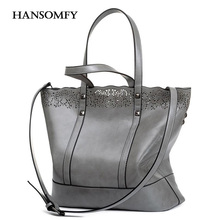 HANSOMFY Bags 2 Pcs Women Hollow Out Totes Handbag Female Fashion Vintage Crossbody Bags Set Casual