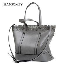 Bolsas 2 unids hansomfy mujeres ahueca hacia fuera bolsas bolso femenino moda Vintage Crossbody Bags Set Casual Cuero de LA PU de Hombro de la Señora bolsa