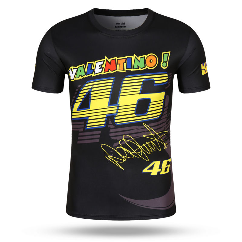 Motorcycle T-Shirt Moto GP 46 Leisure Tee t shirt Luna short sleeve for Valentino Rossi VR46 yamaha M1 racing team Fans