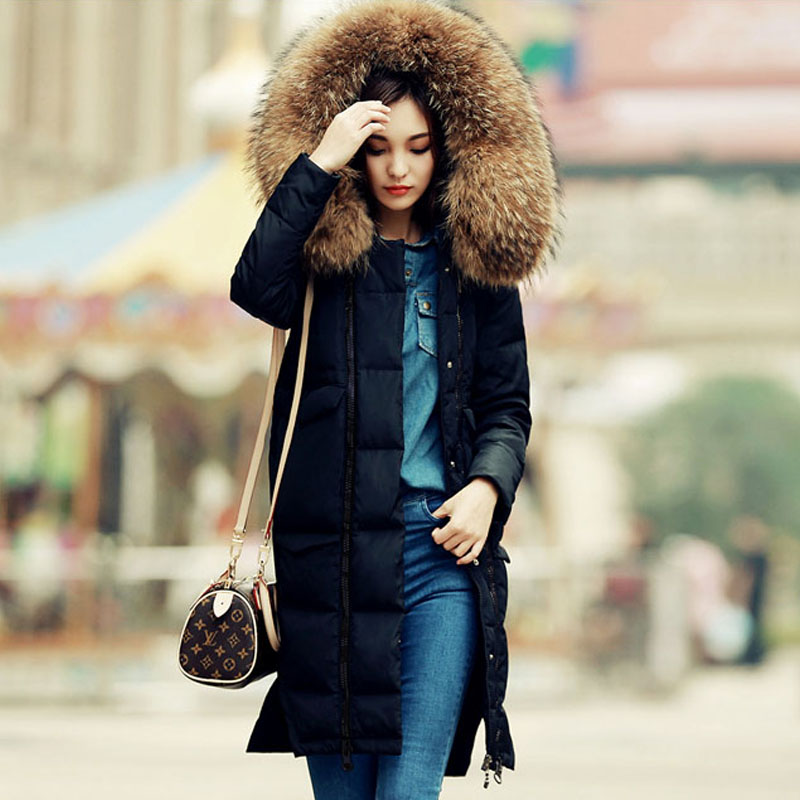 Large Real Raccoon Fur 2018 Winter Jacket   Coats   Women's Parkas White Duck   Down   Jacket Loose Clothing Outwear For Female