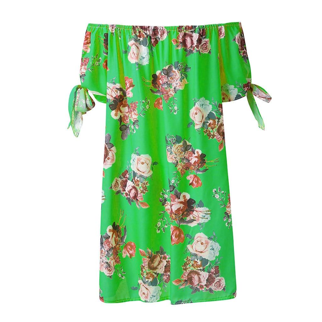 HTB1K W2PbrpK1RjSZTEq6AWAVXan Off Shoulder dress women summer nature Summer Dress Casual Lady Bohemia Floral Printed dress summer 2019 beach sukienka 45#G7