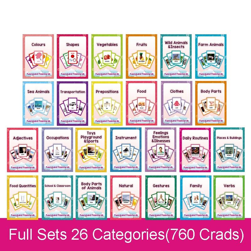 26 catégories 760 cartes enfants Montessori apprendre l'anglais carte Flash jeux de Puzzle jouets éducatifs pour enfants Juguetes Educativos - 2