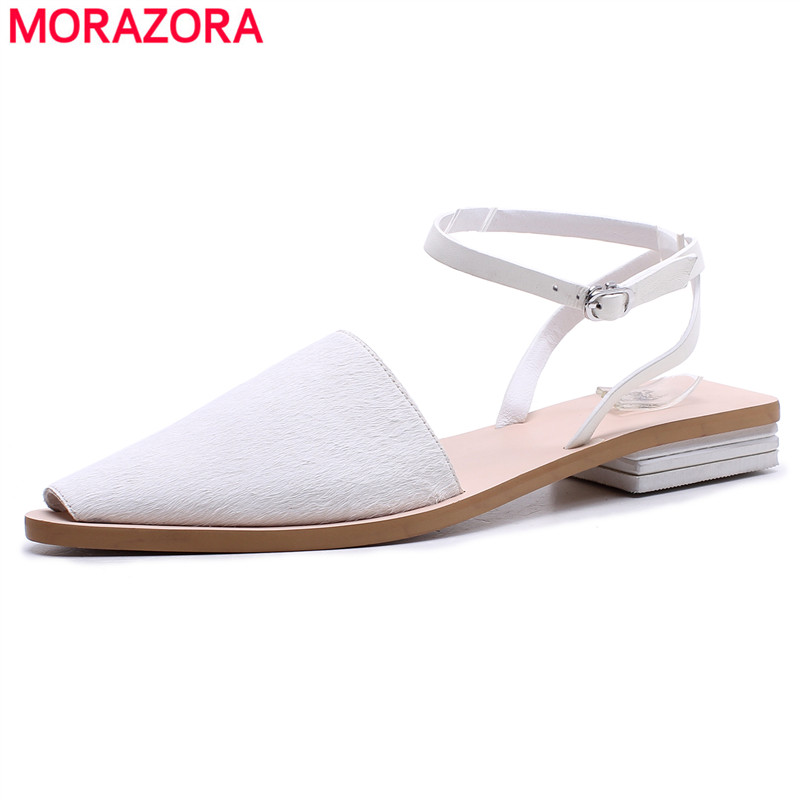 MORAZORA 2018 summer new genuine leather shoes Horsehair leather women sandals high quality flat gladiator sandals ladies shoes 2015 new deluxe brand 100% high quality flat summer women knee high gladiator sandals genuine leather cut outs cover heel shoes