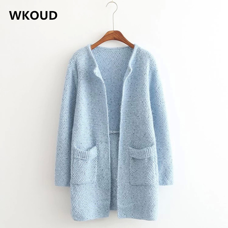 WKOUD 2018 Women Cardigans Long Sleeve Colorful Knitted Sweaters Fall Regular Cardigan Female Knitwear Pockets Sweater M8044