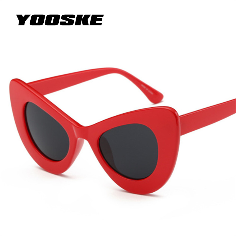 YOOSKE Clout Goggles Sunglasses Women Cat Eye NIRVANA Kurt Cobain Glasses Butterfly Frame Design Sunglass UV400 Sun Glasses