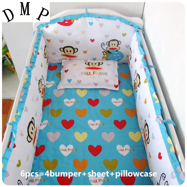 Promotion! 6PCS  Cotton Baby Cot Bedding Set baby bedclothes Cot bed Sheet crib bedding set,include(bumper+sheet+pillow cover)