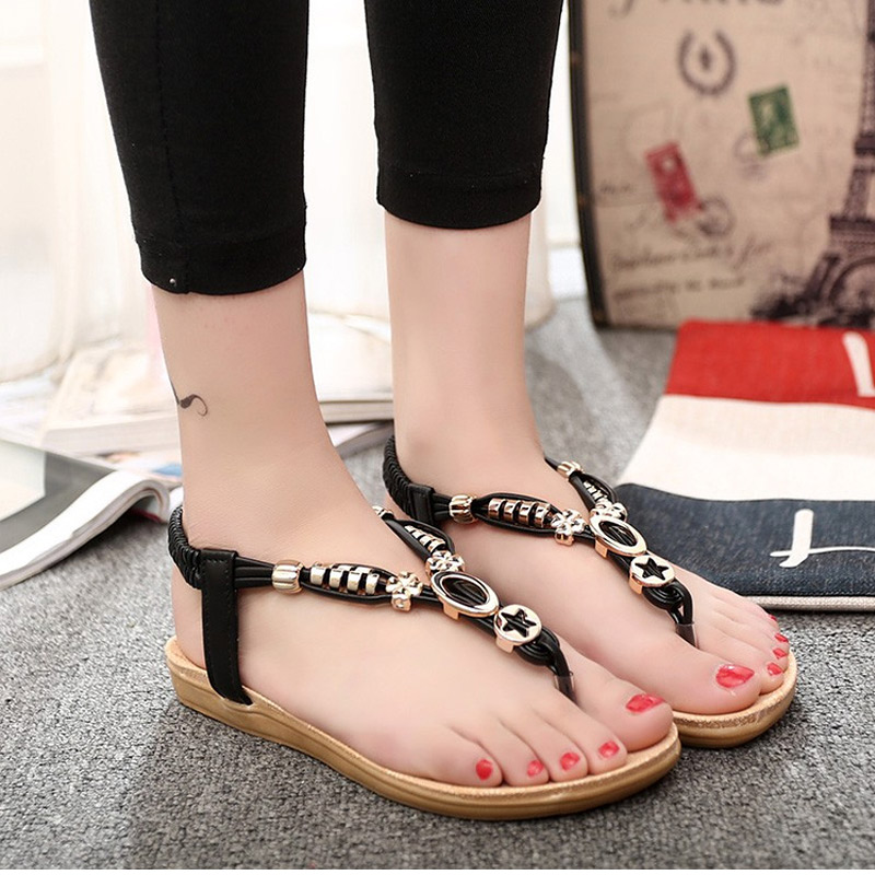 Free Shipping Women Sandals Gladiator Flip Flops Shoes Woman Summer Female Slippers Bohemian Shoes Beige Black free shipping summer shoes women sandals beaded bohemian flip flops sandals beach shoes for women