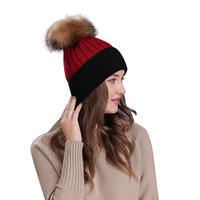 ChamsGend 2017 Hot Sale High Quality Women Winter Crochet Hat Fur Wool Knit Raccoon Warm Cap