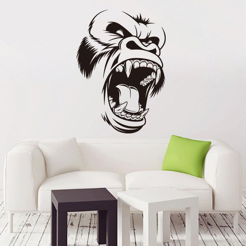 Galleria fotografica Arte di Nuovo Disegno a buon mercato Del Vinile Gorilla Decalcomania Della Parete decorazione per la casa smontabile del PVC della decorazione della casa colorful Tyrannosaurus <font><b>Rex</b></font> Sticker