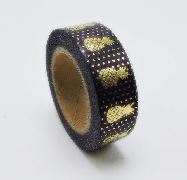2016 New Foil Pineapple Printing Washi Tape Kawaii Decorative Tapes Scrapbook Tools Cute Paper Crafts Washi Paper Adhesive
