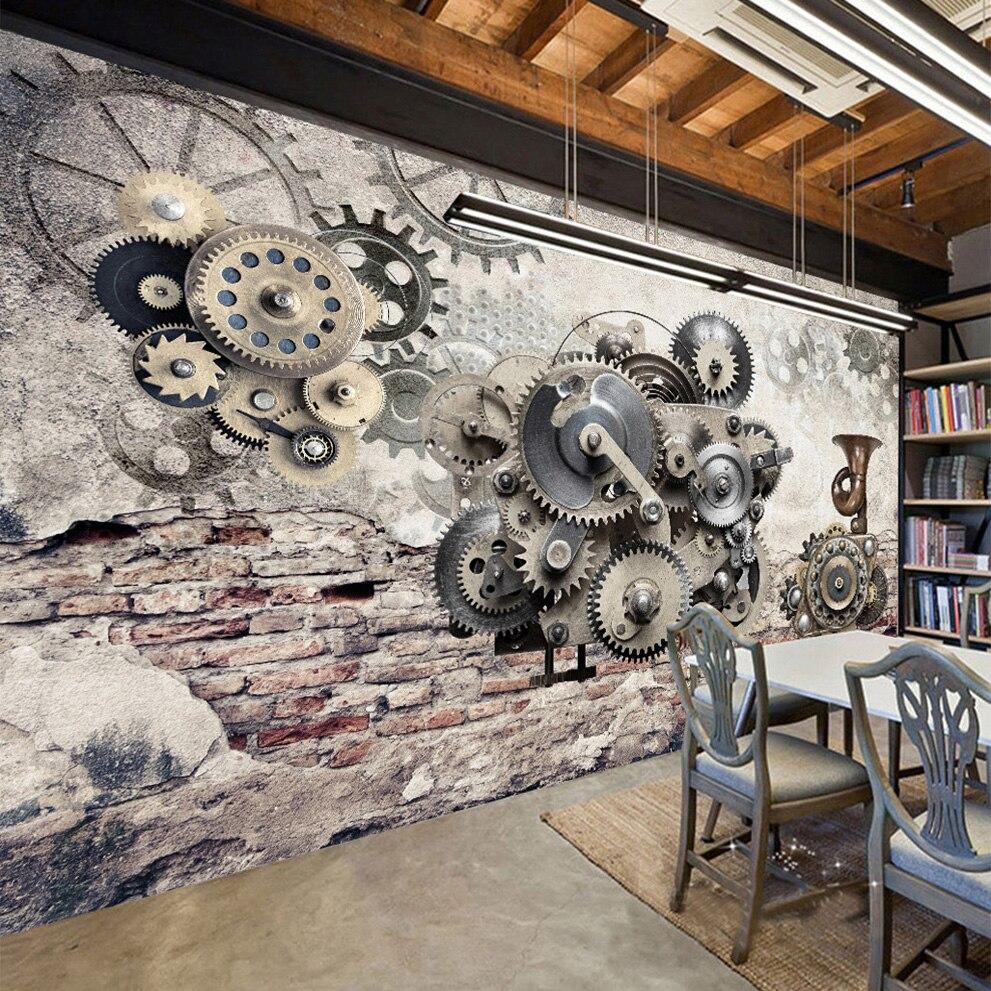 Retro Nostalgia Mechanical Gears Living Room Sofa Backdrop