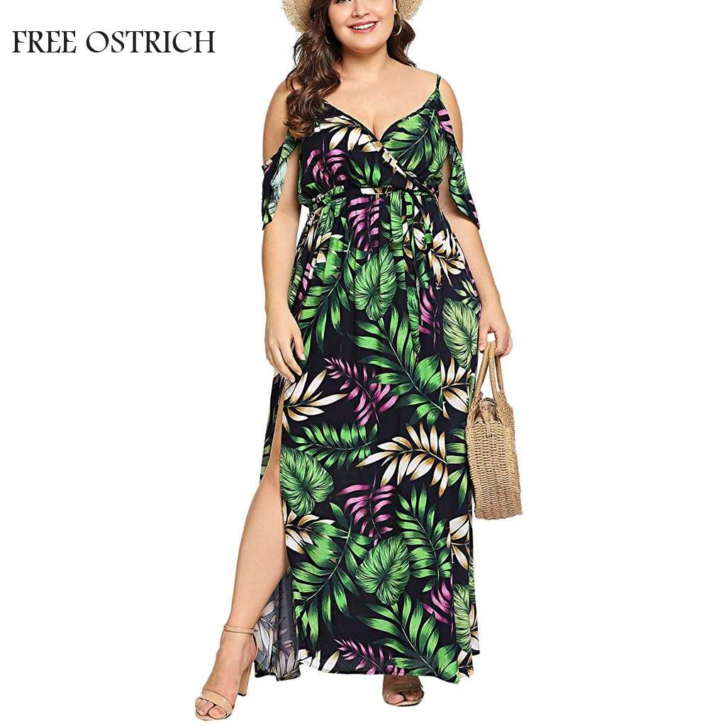FREE OSTRICH Bohemian Off-Shoulder Ruffled Banded Dress Casual Women's Plus Size V-neck Cloth Fashion Vintage Dress