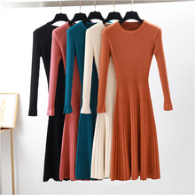 2018 Woman elegant  Autumn Winter sweater Dress Solid Women long Thick Dress Sweater Full Sleeve long A-Line robe Knit Dress