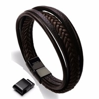 New Design Genuine Leather Stainless Steel Mens Bracelet