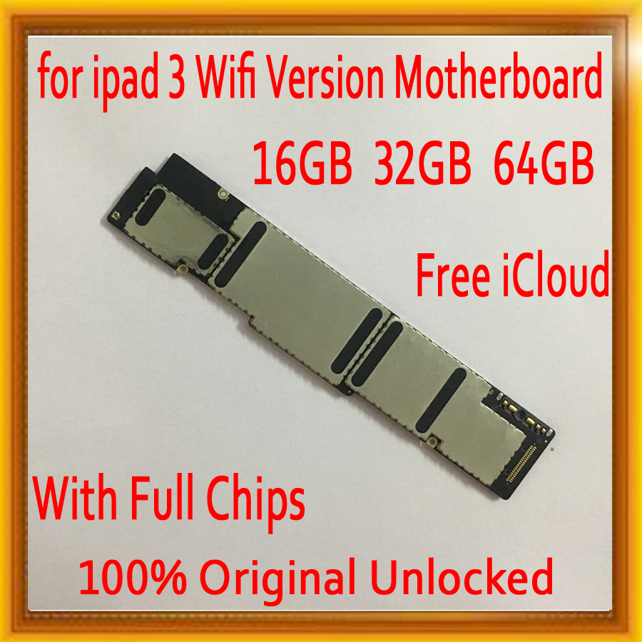 Free iCloud for ipad 3 Motherboard,Original unlocked for Ipad 3 Mainboard with Full Chips,Wifi Version 16GB / 32GB / 64GBFree iCloud for ipad 3 Motherboard,Original unlocked for Ipad 3 Mainboard with Full Chips,Wifi Version 16GB / 32GB / 64GB