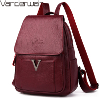 V Letter Women Leather Zipper Backpacks Female Sac a Dos Travel Back Pack Ladies Bagpack Mochilas School Bags For Teenage Girls