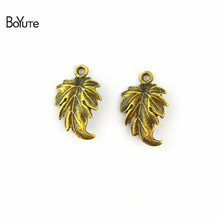 Boyute (100 peças/lote) 19*12mm liga de zinco acessórios bronze antigo chapeado maple leaf conector para fazer jóias diy encantos