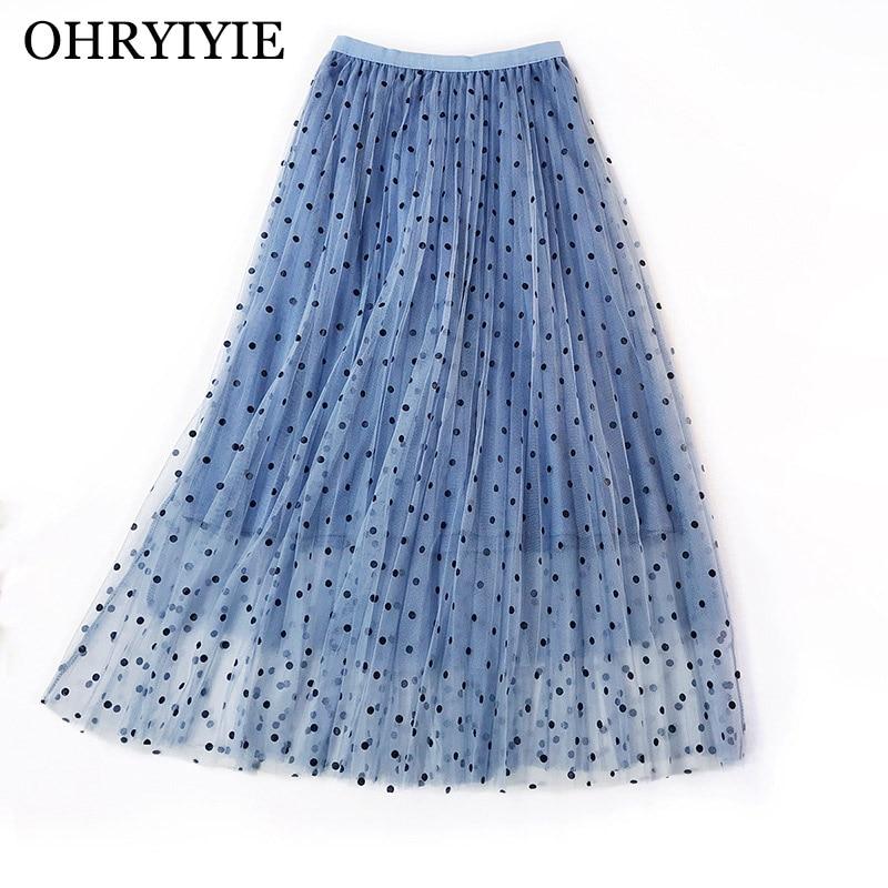 OHRYIYIE High Waist Dot Tulle Skirts Women 2019 Spring Summer Elastic Waist Sun Fluffy Tutu Skirt Female Elegant Long Skirt S224