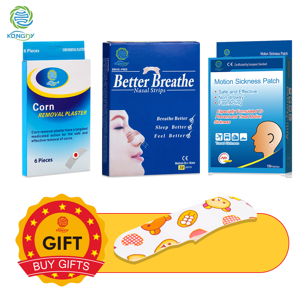 Buy 3 Get 1 Black Firday KONGDY 10Pieces Motion Sickness Pad&30Pieces Nasal Strips&6Pieces Corn Remover Gift 2Pieces Bandage Aid