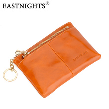EASTNIGHTS Latest Women Coin Purse Genuine Cow Leather Zipper Pouch Girl Trifle Small Wallet Kids Change