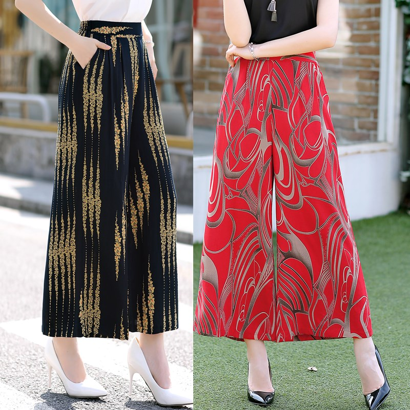 New women wide leg pants summer cotton loose casual printed pants female summer Square dance thin Large size flower pants