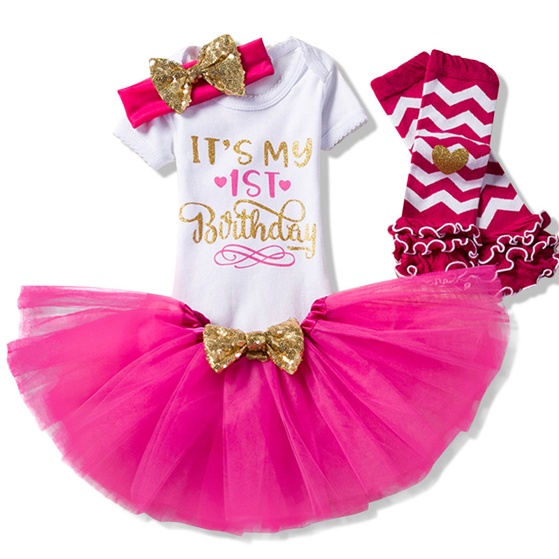 Headband Legging 4 pcs Baby Birthday Outfits for 1st Birthday girls First birthday Gift Party Wear for 1 Year Baby Girl Dresses