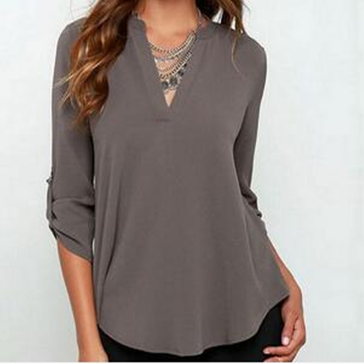 Kaguster 2019 Womens  Blouses  Ladies Tops  Plus Size Regular  Casual  Solid  V-Neck  Chiffon  Office Lady Blusas Mujer De Moda