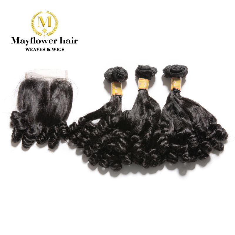 """MFH 2/3/4 Bundles Funmi Hair Spring Curl With 4x4 Closure Double Drawn Natural Black Remy Hair 8-18"""" Mixed Free Shipping"""