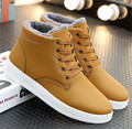 Fashion Winter Men Snow Shoes Suede Leather Ankle Boots Lace-Up Flats Warm Wool Martin Boots Waterproof Winter Botas Hombre