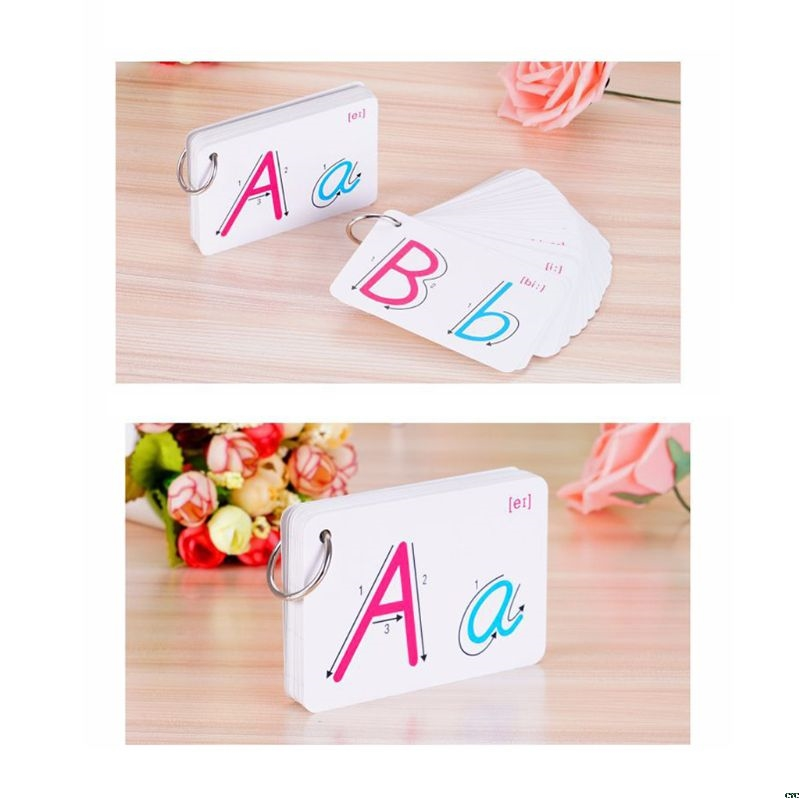 26 Letter English Alphabet Card Ring Buckle Handwritten Pronunciation Early Development Home Learning Educational Toy Children