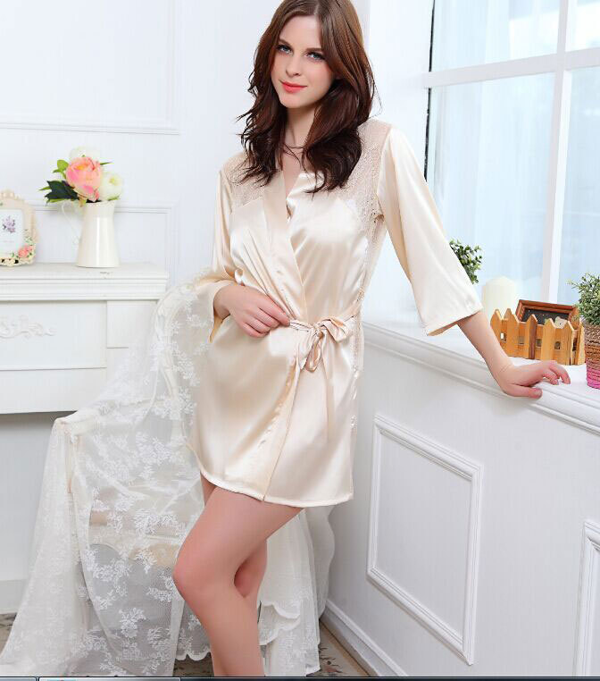 2015 Black One Size Lace Hollow Faux Silk Satin dressing gown Pink ...