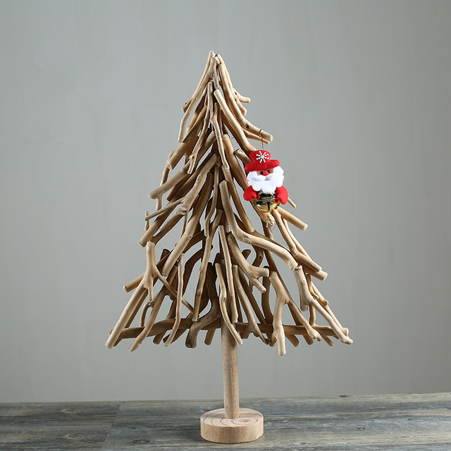 Lovely Handmade Wooden Christmas Tree Creative Natural Wood Craft Table Figurines  Holiday New Year Home/Office