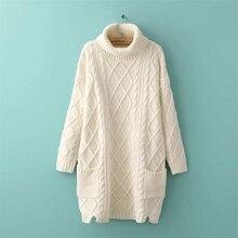Knitted Winter Warm Dress 2017 Women Winter Turtleneck Sweater Dress White Knitted Warm Dresses With Long Sleeve Knitted Sweater