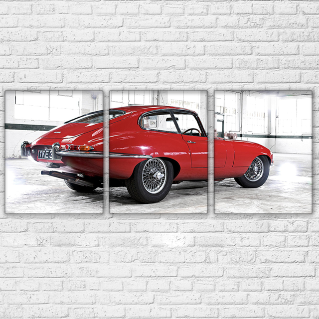 canvas hd prints posters home decor wall art 3 pieces red retro cool