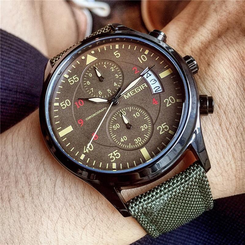 MEGIR Sports Watches Men Luxury Brand Army Military Men Watches Clock Male Quartz Watch Relogio Masculino horloges mannen saat стоимость