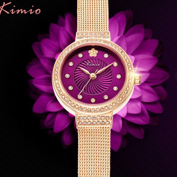 KIMIO Brand Women's Stainless Steel Watches Flower Rhinestone Dress Watches Ladies Quartz Wristwatch Waterproof Montre Femme цена 2017