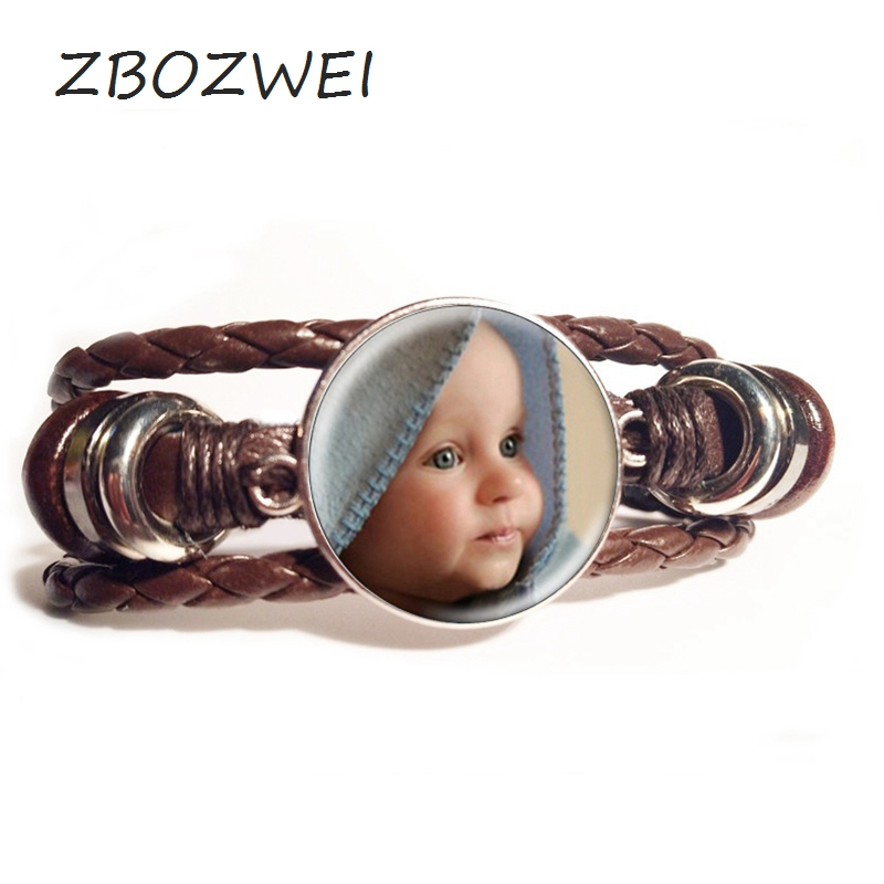ZBOZWEI Personalized Leather Bracelet Your Baby Grandpa and Grandma Mom and Dad loves the private custom of this family gift