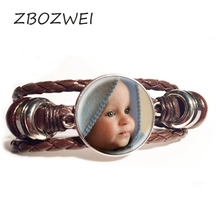 ZBOZWEI Personalized Leather Bracelet Your Baby Grandpa and Grandma Mom and Dad loves the private custom of this family gift raeanne thayne the wrangler and the runaway mom