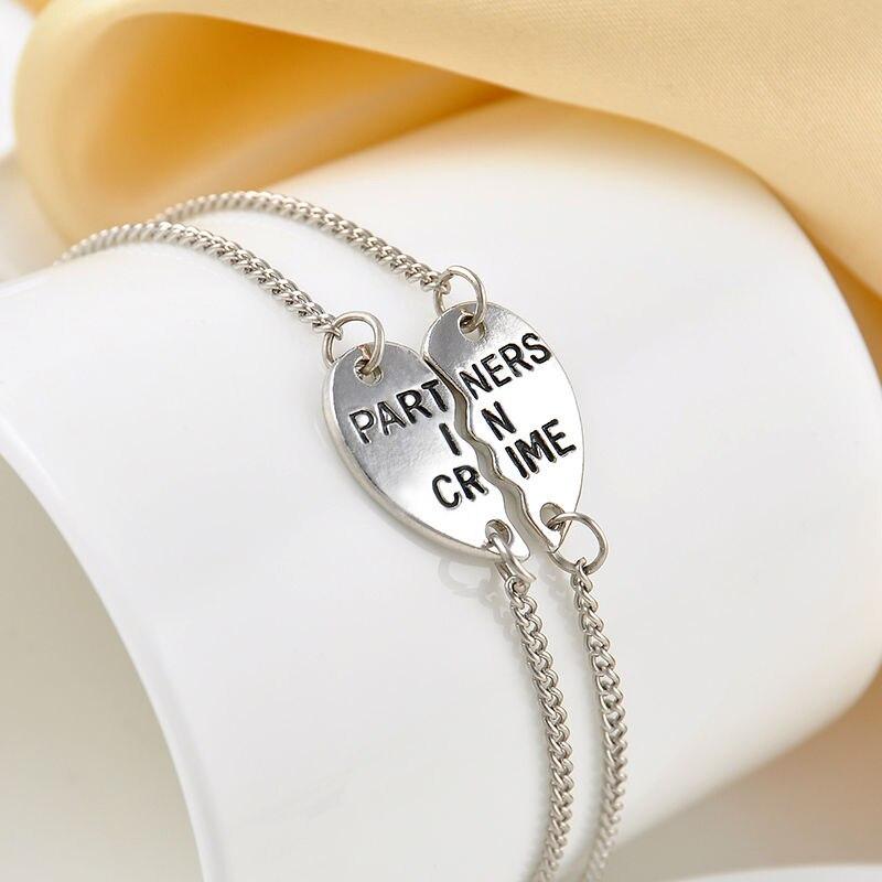 2pcs Fashion Heart Partner In Crime Best Friend Bff Friendship Bracelet For S Jewelry Gifts Silver