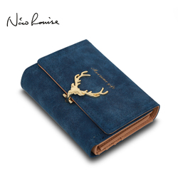 2017 Latest Christmas Deer Women Leather Wallet VintageTri-Folds Luxury Cash Purse Girl Small Black Clutch coin purses holders