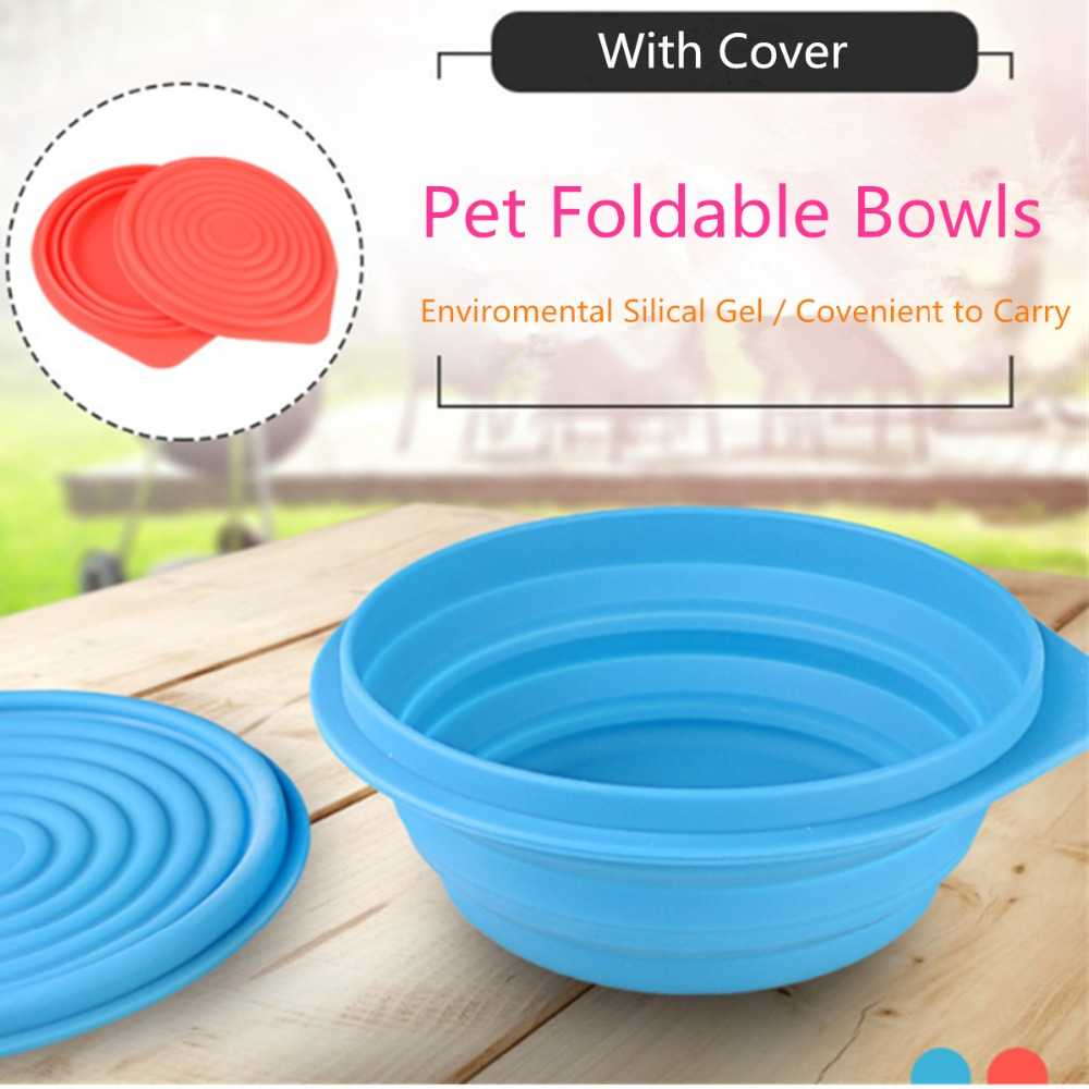 N52 Folding Silicone Pet Dog Bowl with Cover Portable Travel Silicone Bowls For Medium Dog Food Water Container Dish Supplies