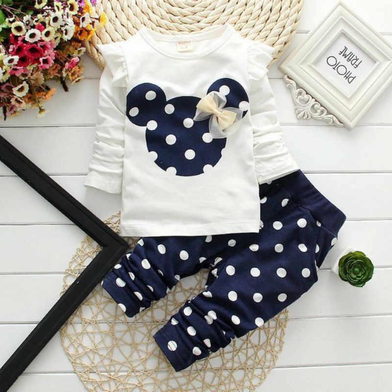 Детская одежда комплект для девочек, новая хлопковая повседневная детская одежда рубашка с длинными рукавами и рисунком Минни однотонные штаны